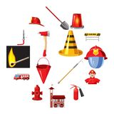 Fire Department icons set, cartoon style. Fire Department icons set in cartoon style isolated on white background vector illustration