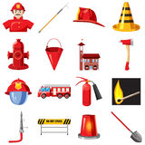 Fire Department icons set, cartoon style. Fire Department icons set in cartoon style isolated on white background Royalty Free Stock Photo