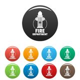 Fire department icons set color. Fire department icons set 9 color vector isolated on white for any design royalty free illustration
