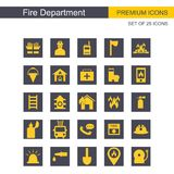 Fire Department icons set. For web design and application interface, also useful for infographics. Vector illustration Royalty Free Stock Photos