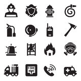 Fire Department icons set  Vector Illustration Royalty Free Stock Images