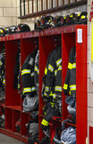 Fire department. Inside an American Fire Station showingh all the uniforms stock images