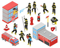 Fire Department Isometric Icons Set. With  firefighters engaged in extinguishing of burning building and saving people vector illustration Royalty Free Stock Photography