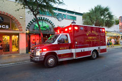 Fire department. KEY WEST, FLORIDA, USA - MAY 02, 2016: Truck of the fire department in Duval street in Key West in Florida Royalty Free Stock Image