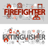 Fire Department Line Banner Set. Two horizontal fire department line banner set with firefighter an extinguisher descriptions vector illustration Royalty Free Stock Photo