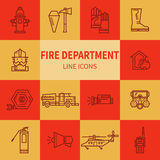 Fire Department linear icons. Set icons outline fire safety. Flame, truck, fire extinguisher, firefighter. Suitable for banners, business cards, web sites Royalty Free Stock Photo