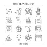 Fire Department Linear Icons Set. With warning systems protective clothing professional equipment  vector illustration Stock Photography