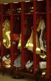 Fire Department Lockers. With coats and equipment stock photos