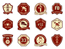 Fire department logo and badges. Set. Symbol protection, shield emblem, axe and fireman, hydrant and helmet. Vector illustration Royalty Free Stock Image