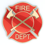 Fire department Maltese cross. Badge or symbol with axes, red with gold inlay with reflection. 3d image Stock Images