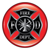 Fire Department Maltese Cross Button. Fire Department or Firefighter's  Maltese Cross Symbol on a button illustration Stock Images