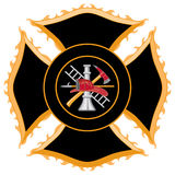 Fire Department Maltese Cross Symbol. Fire department or firefighter's Maltese Cross symbol. Center contains firefighter tools logo Royalty Free Stock Photo