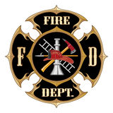 Fire Department Maltese Cross Vintage. Illustration of a vintage fire department Maltese cross with full color firefighter logo inside Royalty Free Stock Image