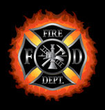 Fire Department Maltese Cross With Flames Stock Photo