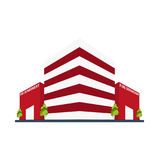 Fire department Modern building in flat style isolated on white background. Royalty Free Stock Photography