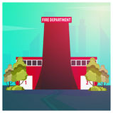 Fire department Modern building in flat style isolated on white background. Royalty Free Stock Photos