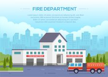 Fire department - modern vector illustration with place for text. Urban background. Nice park around. Blue sky with clouds. Fire-engine with ladder on the road Stock Photos