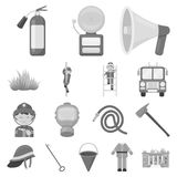 Fire Department monochrome icons in set collection for design. Firefighters and equipment vector symbol stock web. Fire Department monochrome icons in set Royalty Free Stock Photography