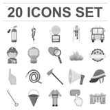 Fire Department monochrome icons in set collection for design. Firefighters and equipment vector symbol stock web. Fire Department monochrome icons in set Stock Photography