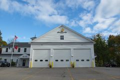 Fire Department in New Castle in NH, USA. Fire Department near town hall on Main Street in New Castle, New Hampshire, USA stock photography
