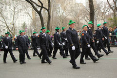 Fire Department of New York firefighters marching at the St. Patrick's Day Parade in New York. Stock Photo