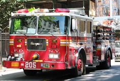 Fire Department New York vehicle. Fire Department New York - FDNY - red vehicle stock photo