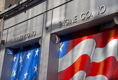 Fire Department NY, Engine Co. 10. Detail of the Engine Co. 10, FDNY near Ground Zero royalty free stock photos