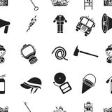 Fire department pattern icons in black style. Big collection of fire department vector symbol stock illustration Stock Photo