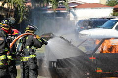 Fire department. A picture of a fire being put out royalty free stock images