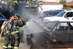Fire department. A picture of a fire being put out royalty free stock photo