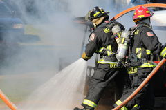 Fire department. A picture of a fire being put out royalty free stock image