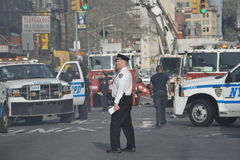 Fire Department and Police in Action. The men in New York's Fire Department and Police Department in action stock photos