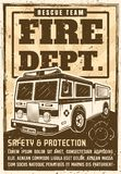 Fire department poster in vintage style with truck. Fire department promo poster in vintage style with truck, headline text and grunge textures on separate layer Stock Photos