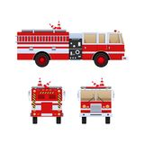 Fire Department. Red truck with white stripes, eliminating fire. Fire Department. Red truck with white stripes, eliminating fire and fire, help in putting out Royalty Free Stock Images