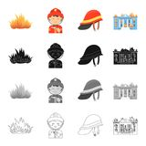 Fire Department related icon set. Fire, firemen in uniform, protective helmet, burning building. Fire Department set collection icons in cartoon black monochrome Royalty Free Stock Images