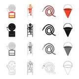 Fire Department related icon set. Fire siren, fireman on the stairs, hydrant, cone bucket. Fire Department set collection icons in cartoon black monochrome Stock Photo