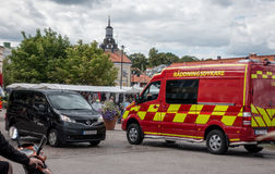 Fire department rescue diver van. Vastervik, Sweden- July 31, 2017: fire department rescue diver stock photo