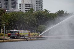 Fire department rescue practicing in Perth at the seaside. Fire brigade rescue practicing in Perth at the seaside stock photography