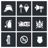 Fire Department Service icons set. Service icon collection on a black background Stock Photography