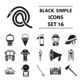 Fire department set icons in black style. Big collection fire department vector symbol stock illustration. Fire department set icons in black style. Big Royalty Free Stock Photography