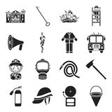 Fire department set icons in black style. Big collection fire department vector symbol stock illustration Royalty Free Stock Photo