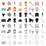 Fire department set icons in cartoon style. Big collection of fire department vector illustration symbol. Fire department set icons in cartoon style. Big Stock Photography