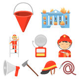 Fire department set icons in cartoon style. Big collection of fire department vector symbol stock illustration. Fire department set icons in cartoon style. Big Stock Photos