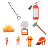 Fire department set icons in cartoon style. Big collection of fire department vector symbol stock illustration. Fire department set icons in cartoon style. Big Royalty Free Stock Images