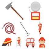 Fire department set icons in cartoon style. Big collection of fire department vector symbol stock illustration. Fire department set icons in cartoon style. Big Stock Photography