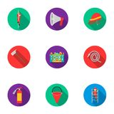 Fire department set icons in flat style. Big collection of fire department symbol. Fire department set icons in flat style. Big collection of fire department Stock Image
