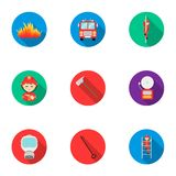 Fire department set icons in flat style. Big collection of fire department vector symbol. Stock Stock Photo