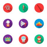 Fire department set icons in flat style. Big collection of fire department vector symbol stock illustration. Fire department set icons in flat style. Big Royalty Free Stock Photography
