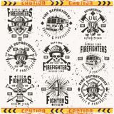 Fire department set of vector vintage emblems. Fire department set of vector emblems, labels, badges and logos in vintage style isolated on background with Stock Images