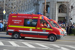 Fire department SMURD. Bucharest, Romania, 01 December 2015 : Romanian's National Day parade. Military platoons , technical, police cars and planes stock photography